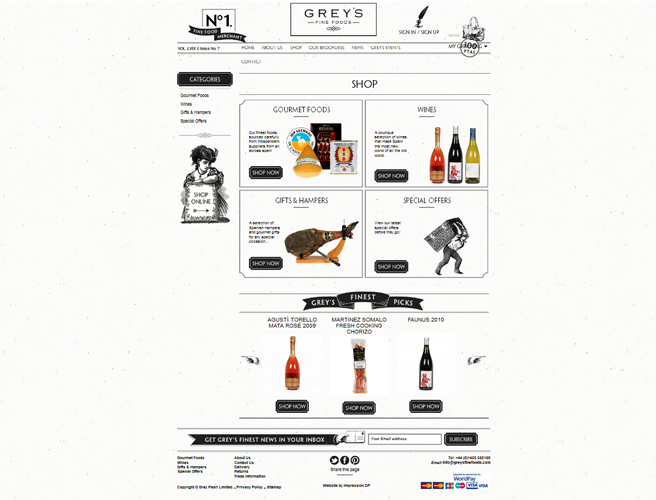 Greys Fine Foods Web Design
